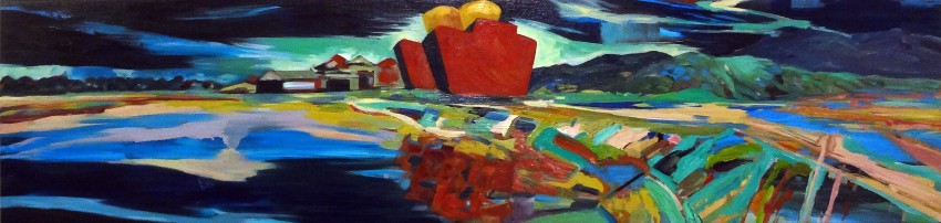 Tourism Cairns painting 2, Babinda Sugar Mill 2 by