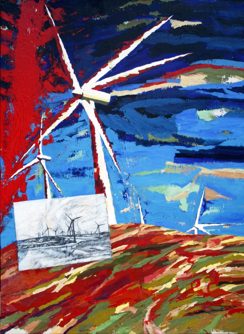 A fine day for painting at Cape Grim with apologies to the Union Jack by Robert Habel