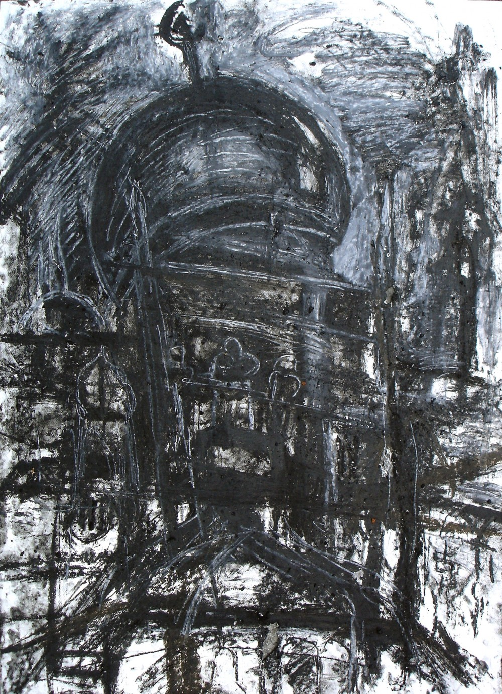 Five views of the mosque in charcoal with rain by